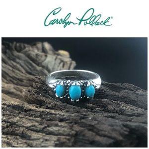 Carolyn Pollack Sterling Silver 3 Gemstone Ring